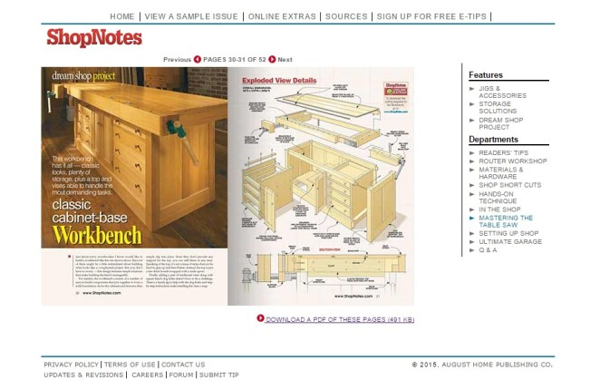 Shop Notes plans for workbench