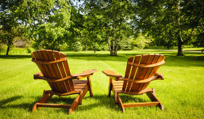 2 wooden adirondack chairs