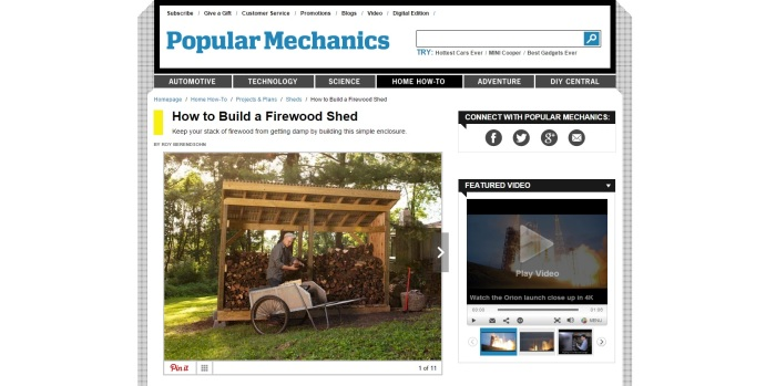 Popular Mechanics plan for firewood shed