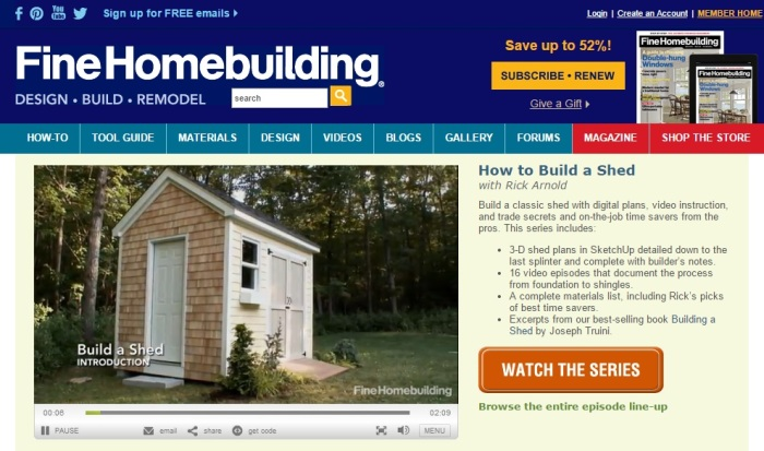 amazing shed plan from Fine Homebuilding