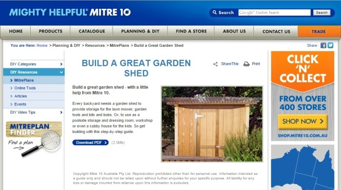 screenshot of Mitre10 garden shed plan