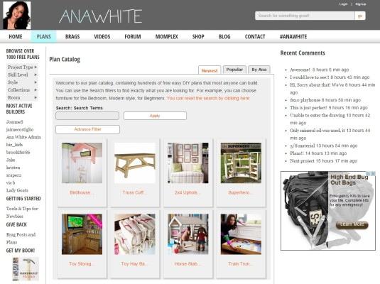 the Ana White homepage