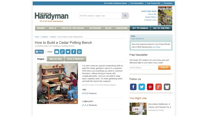 The Family Handyman potting bench