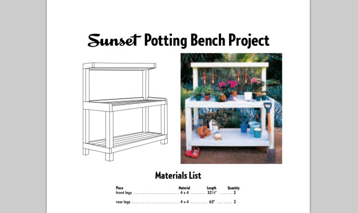 sunset potting bench